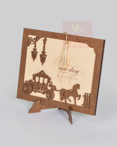 Wooden laser cut wedding invitation cards shimmery paper tassel india wood wedding cards stopboris Gallery