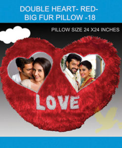 Double Heart Red Big Fur Pillow