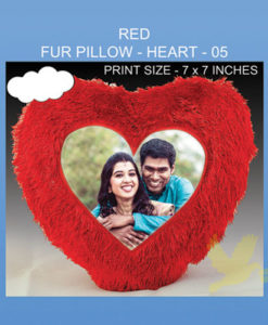 Red Fur Pillow Heart