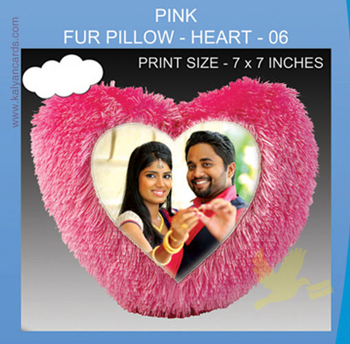 Pink Heart Fur Pillow