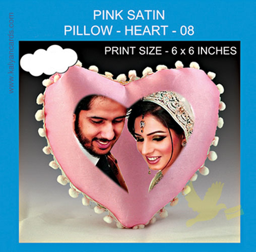 Heart Pink Satin Pillow