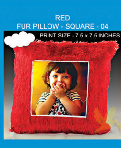 Red Fur pillow square