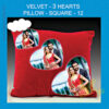 Velvet 3 Hearts Pillow square