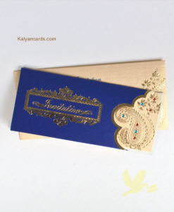 blue flower design personal invitation cards