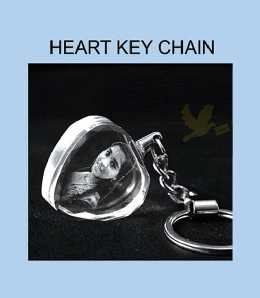2d crystal key chain heart
