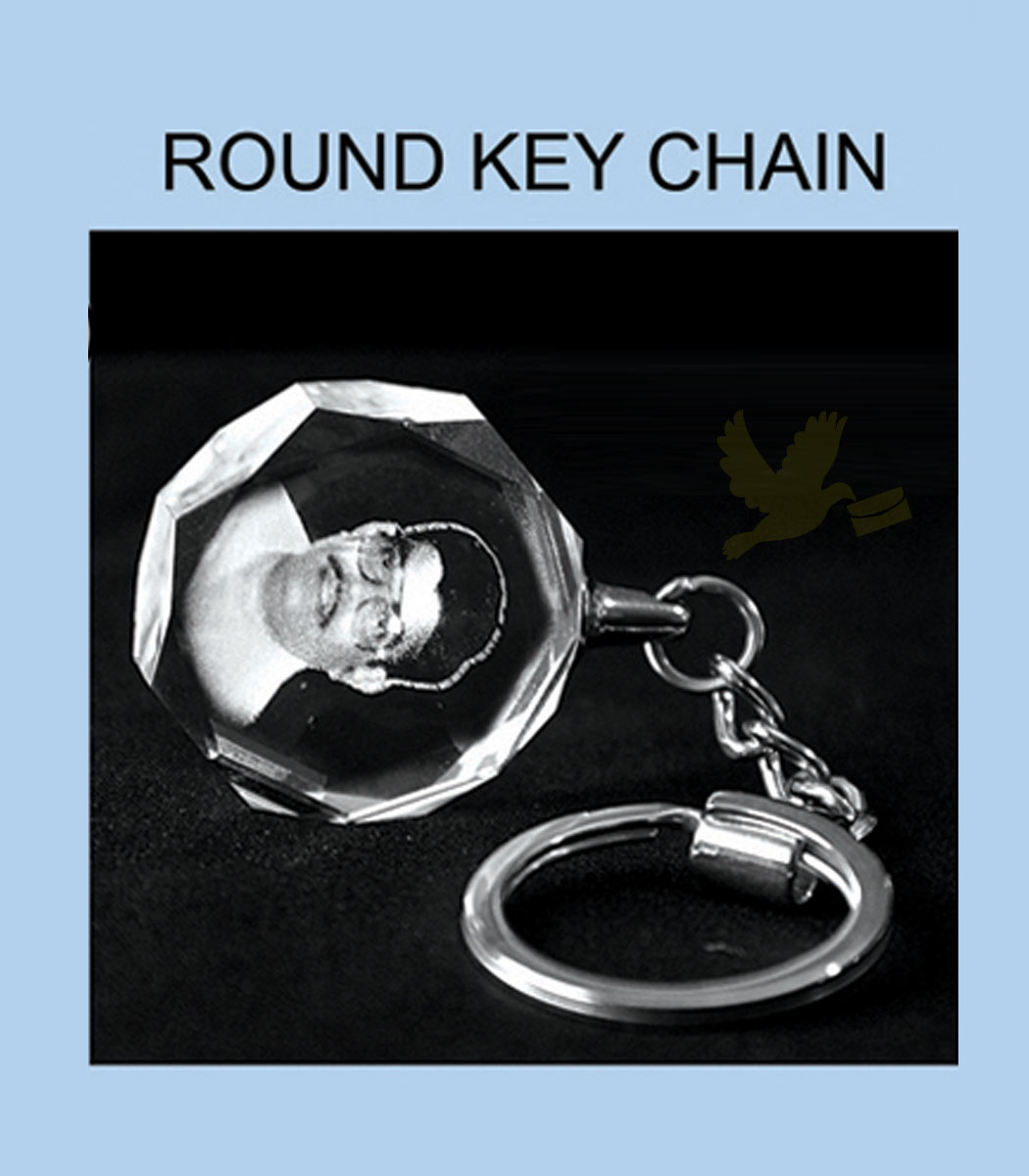 2d-crystal key chain round