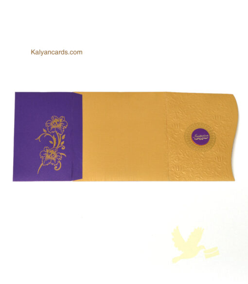 violet and gold color invitation personal cards