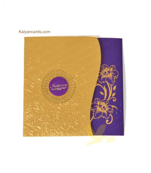 designer professional invitation cards violet and gold color