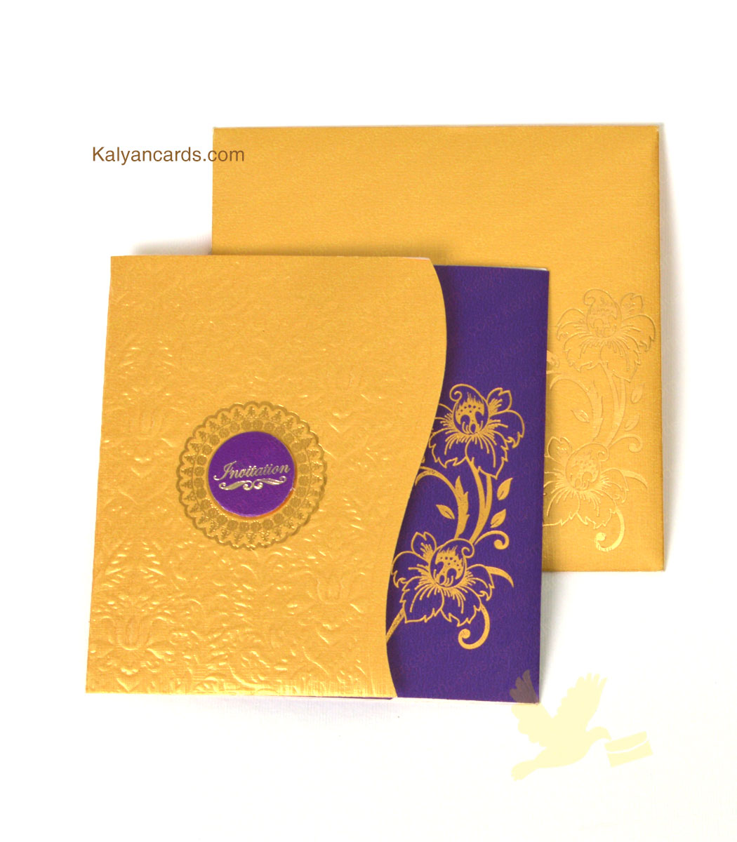 Friends Wedding Cards unique gold Violet in Tirupur
