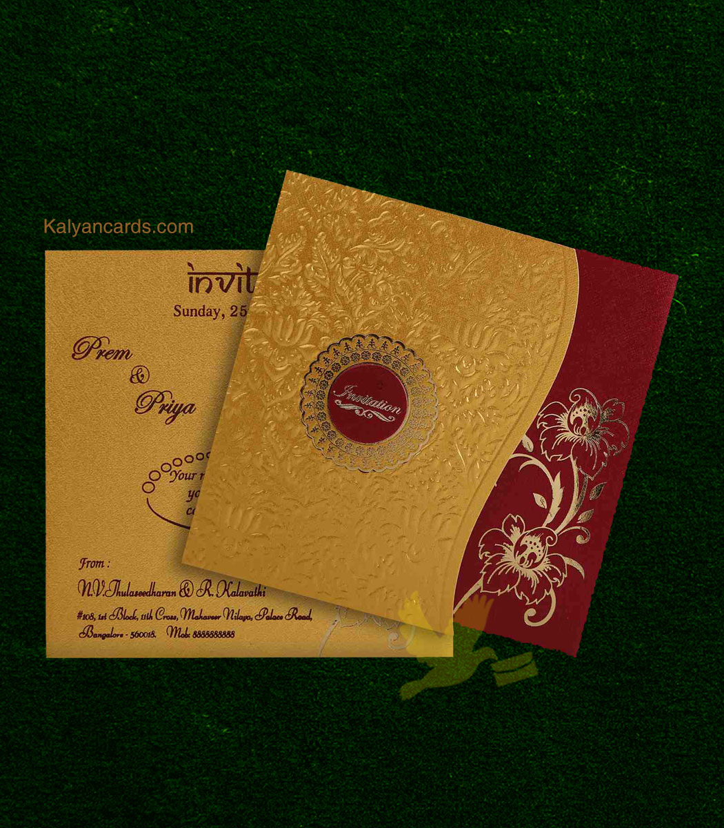 Personal Invitation Cards Gold Maroon Pack Of 50