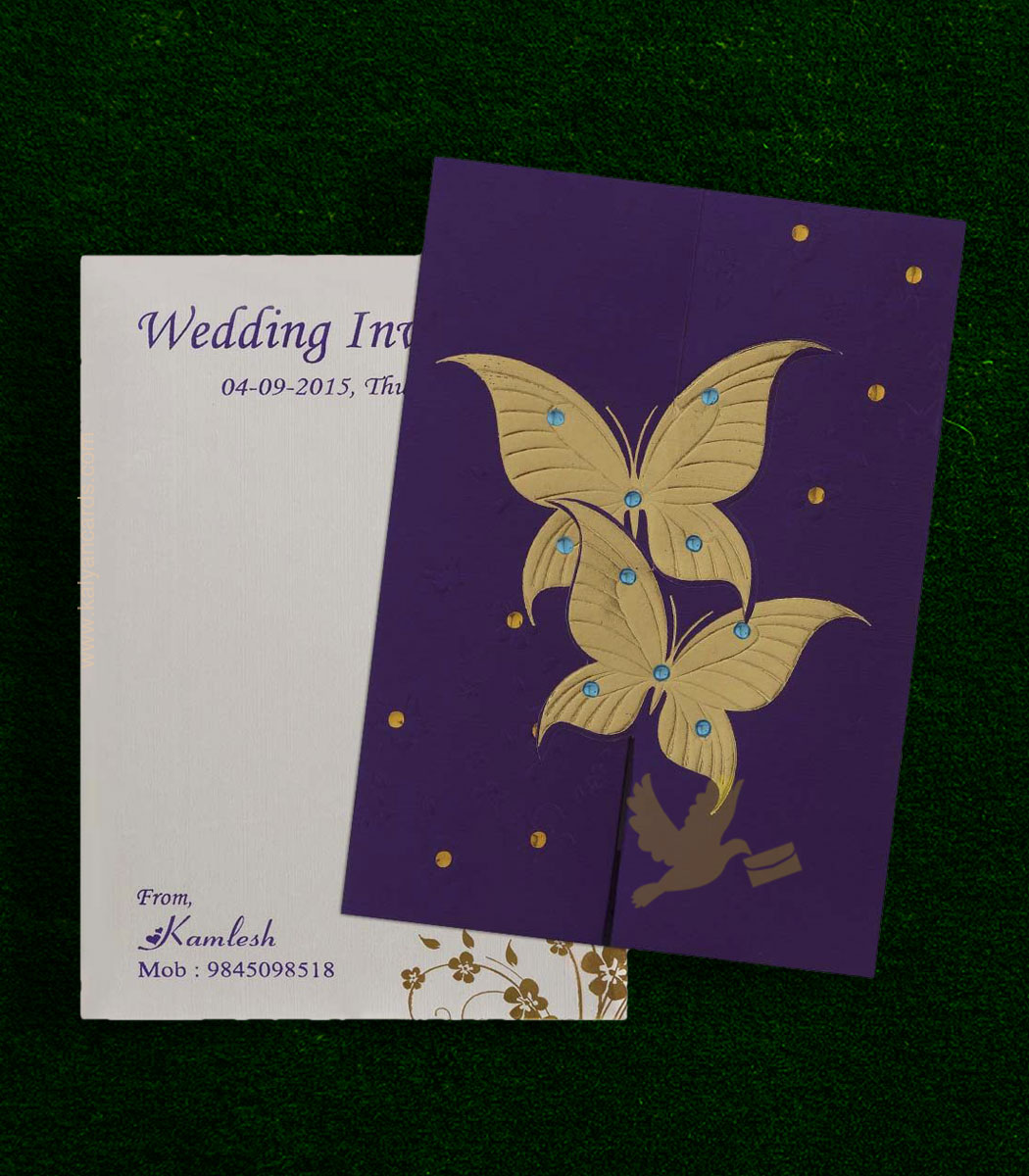 Purple Butterfly Wedding Cards