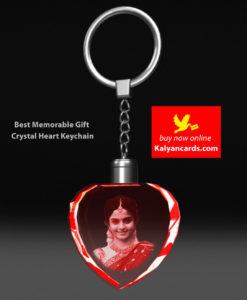 crystal keychains 2d model Laser Engraving your photos crystal heart shape led light
