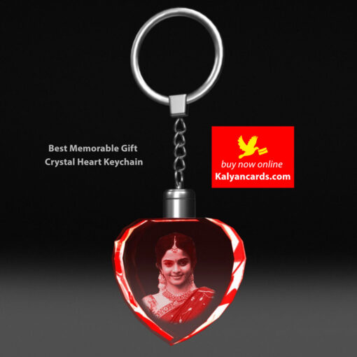 crystal keychains 2d model Laser Engraving your photos crystal heart shape led light