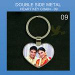 Heart double side metal keychain