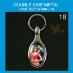 Oval double side metal key chain