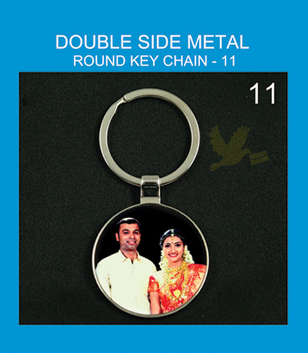 round metal double side key chain