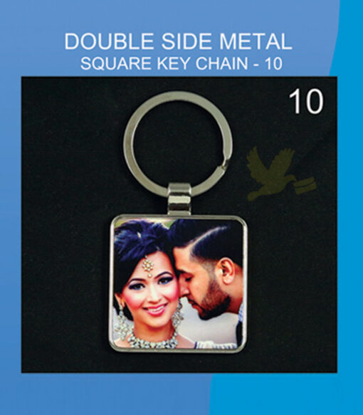Square metal double side key chain