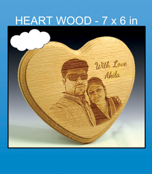 laser engraved heart wooden photos frames