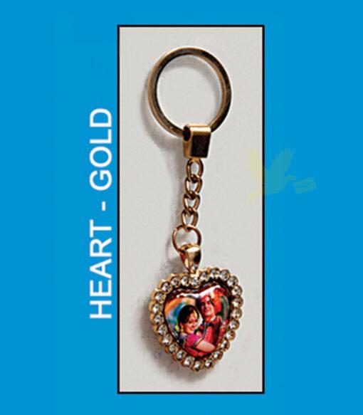 Heart gold metal antique key chain
