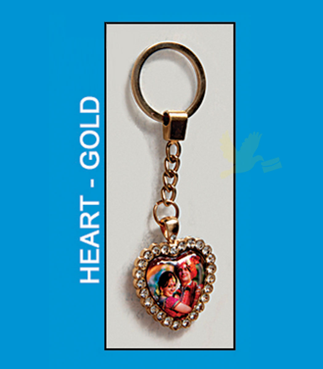 Heart gold metal antique key chain