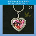Heart stone key chain single side