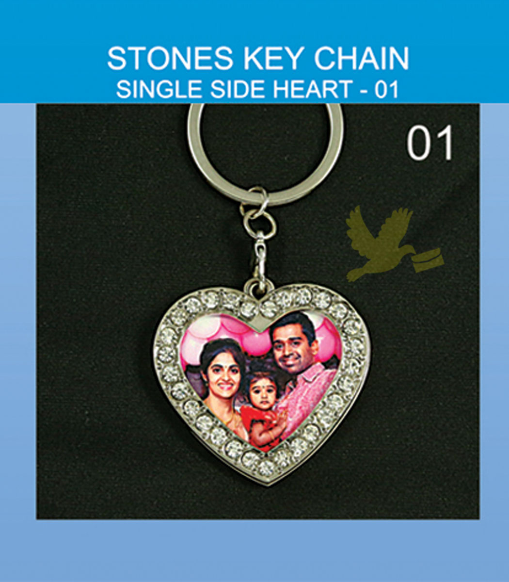 Heart stone key chain single side