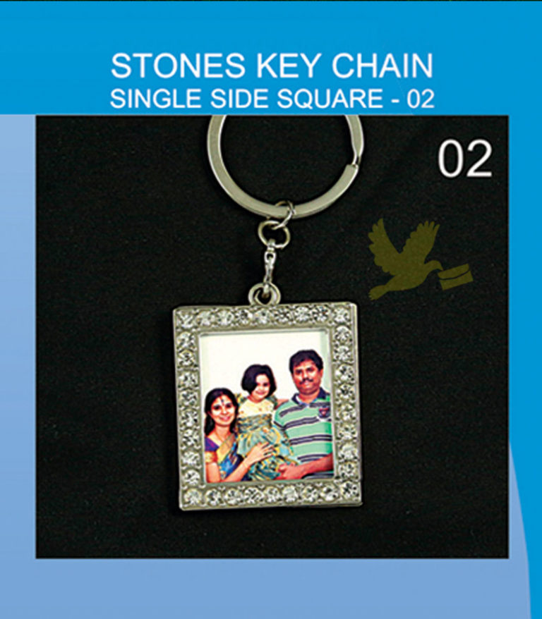 Square Stone key chain single side