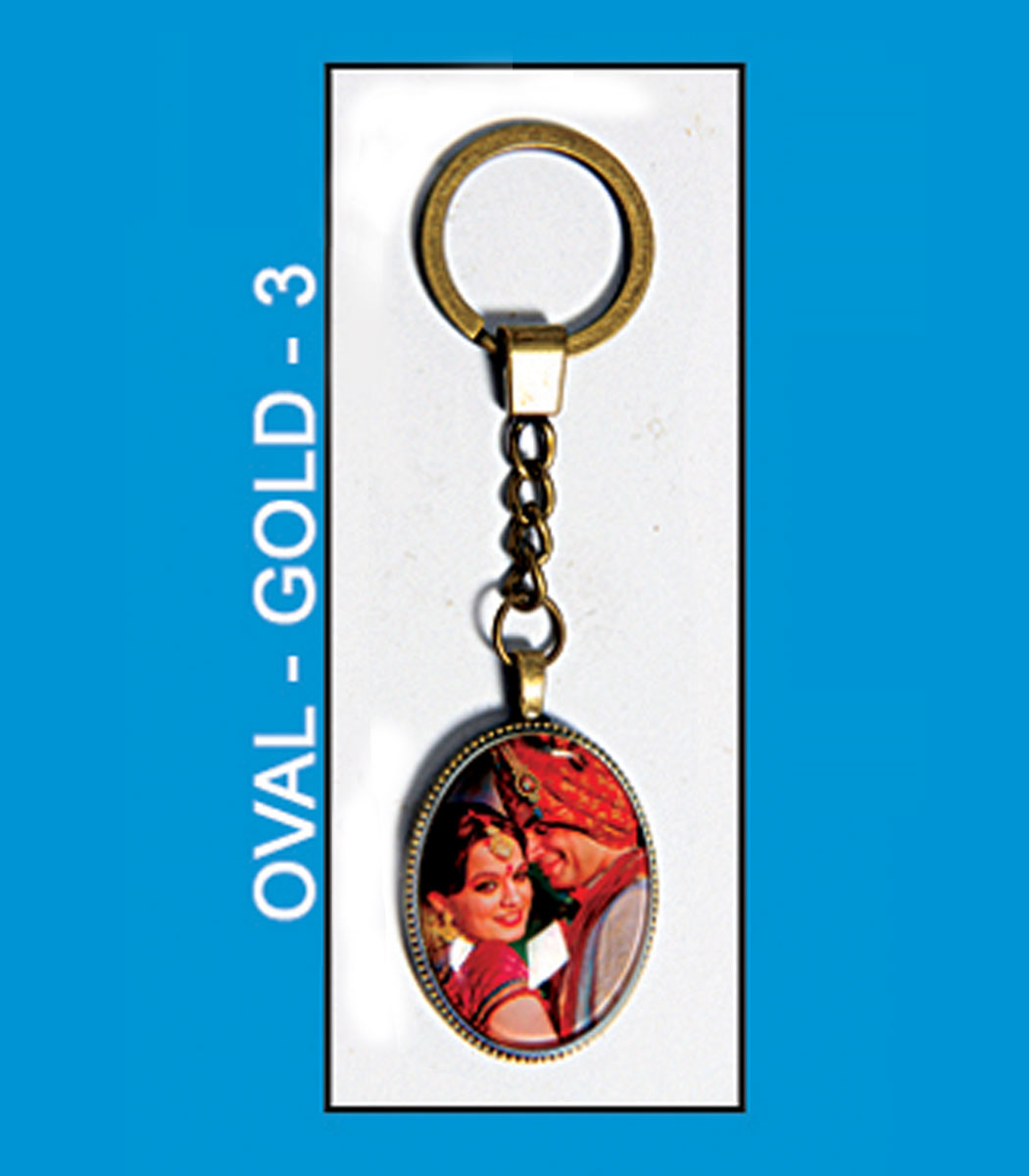 Oval gold 3 antique metal key chain