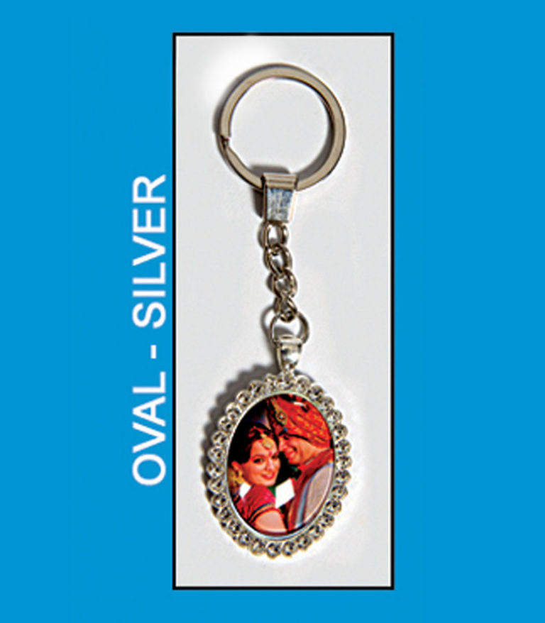 Oval Silver Antique Metal key chain