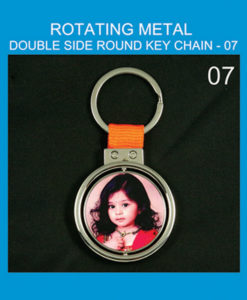 round Rotating metal key chain double side print