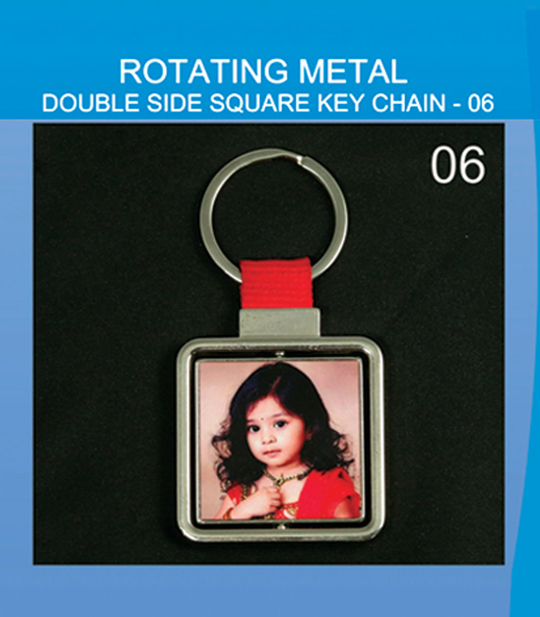 Routating metal double side square keychain