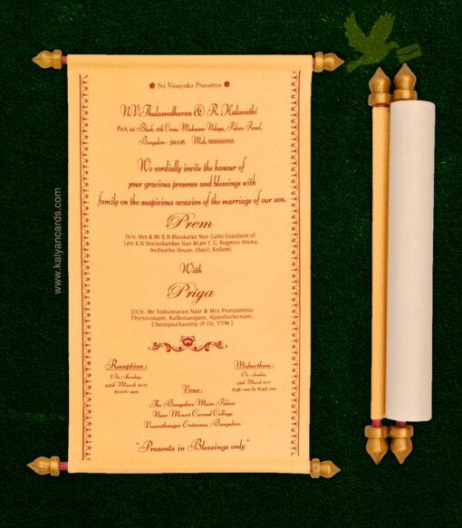 scroll wedding invitation card