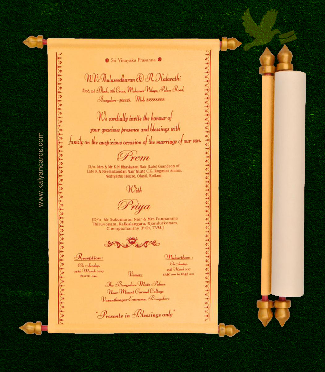 Invitation Wedding Card: Scroll Wedding Invitations With Box