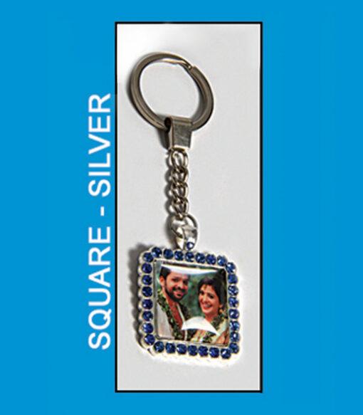 Square Silver Antique Metal Keyrings